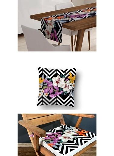Lyn Home & Decor 3'lü Kombin Mor Çiçekli Zigzag Renkli